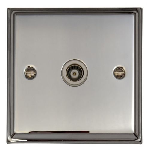 G&H DC35W Deco Plate Polished Chrome 1 Gang TV Coax Socket Point